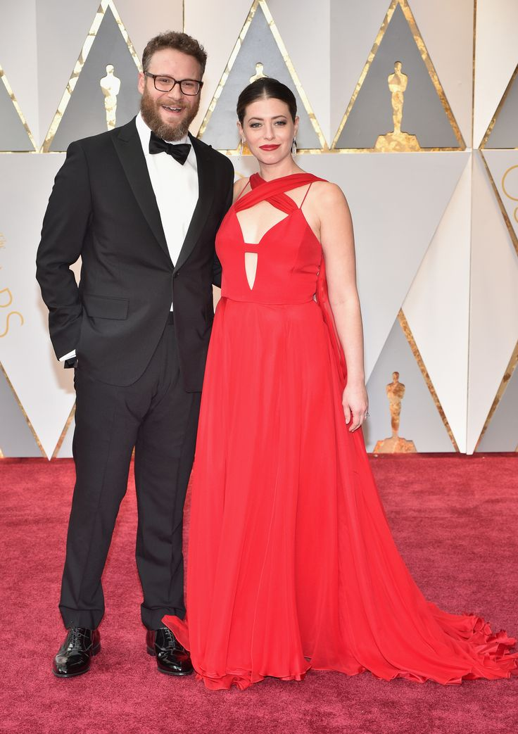 HOLLYWOOD, CA - FEBRUARY 26:  Actor Seth Rogen (L) and Lauren Miller attend the 89th Annual Academy Awards at Hollywood