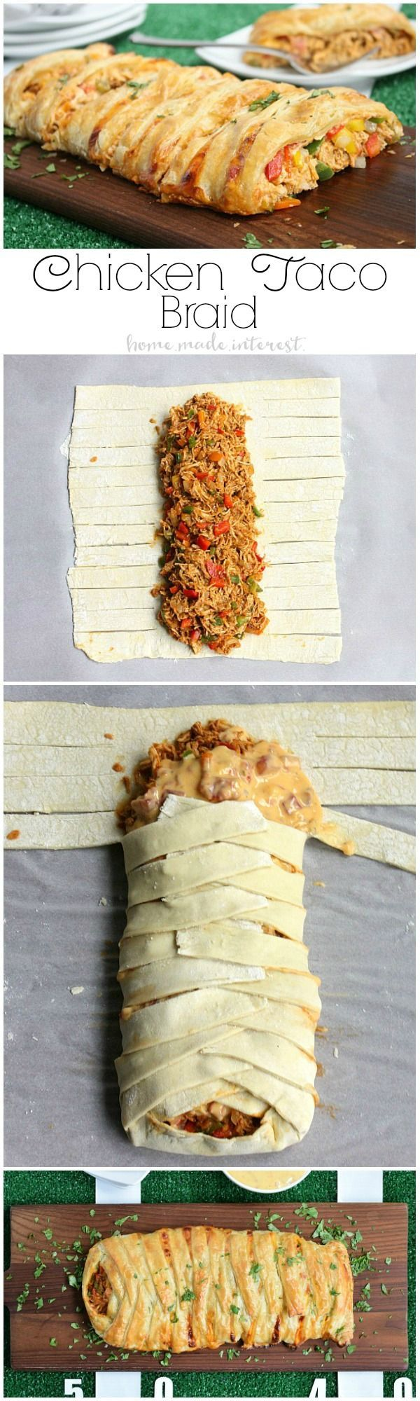 Shredded chicken and cheesy RO*TEL dip braided into a sheet of puff pastry and baked into a delicious chicken taco braid that is the perfect game day recipe for friends and family. #YesYouCAN #ad (Cheese Casserole Taco Seasoning)
