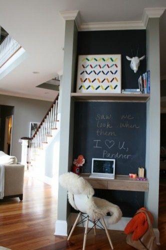 Computer Nook- chalkboard paint!