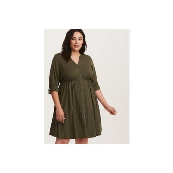Torrid Olive Green Challis Button Front Dress ($22) ❤ liked on Polyvore featuring dresses, green, high neck dresses, plus size, olive green shirt dress, plus size v neck dress, army green dress, plus size brown dress and mini dress