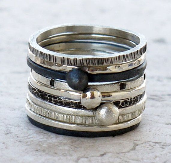 Stacking silver rings set of 3 hammerd made of by kalypsosilver