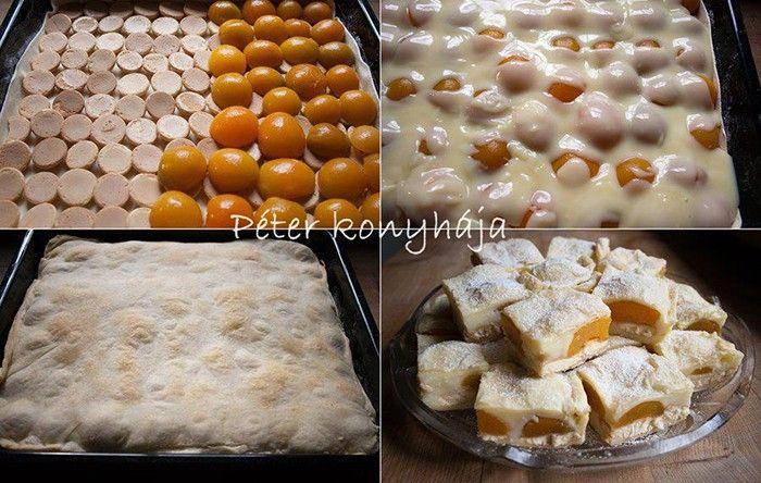 Jednoduchý koláč, který si oblíbíte. Listové těsto, pudink, piškoty a ovoce. Mňam!