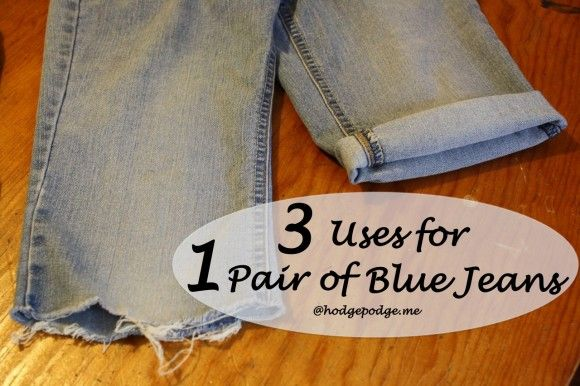 Three Uses for One Pair of Blue Jeans at www.hodgepodge.me (with a video tutorial for blue jean/duct tape purse!