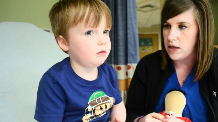 Explaining an IV to a child. This is a great way to explain what a IV is to a child not only are they discussing it, but the child gets to see everything as well