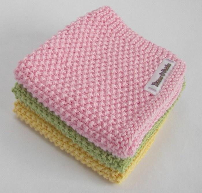Baby Washcloths Knitting Patterns: Hand Knitted WASH-CLOTH - Moss Stitch