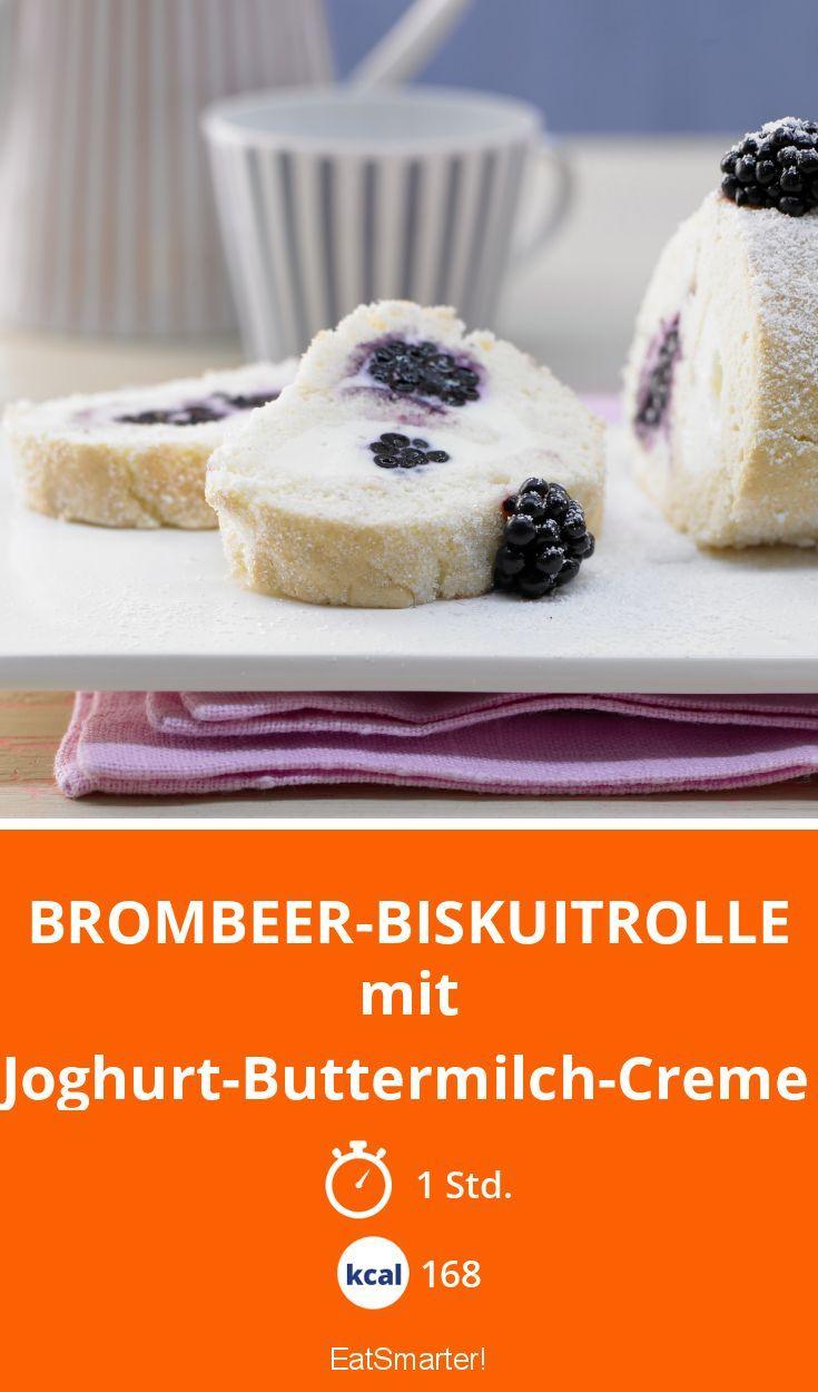 Brombeer-Biskuitrolle - mit Joghurt-Buttermilch-Creme - smarter - Kalorien: 168 Kcal - Zeit: 1 Std.   eatsmarter.de