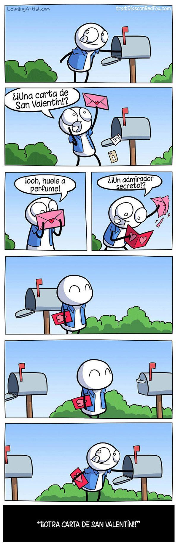 abre el buzón, ve una carta, la abre, se pone feliz, no es su correo