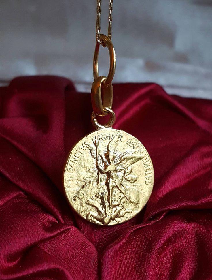 Small 18K Gold Plated Silver French Saint Michael Medal Pendant Catholic Jewelry Archangel Demon Slayer Saint Catholic Medal by SacredBarcelona on Etsy