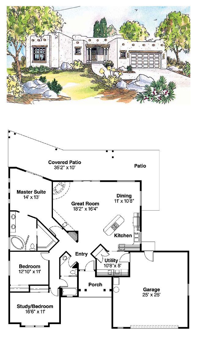 Santa Fe House Plan 69352 | Total Living Area: 1760 sq. ft., 3 bedrooms & 2 bathrooms. Pueblo-style southwestern home plan features one large gathering space plus large covered patio. Master suite has spa tub, dual vanity and direct patio access, great for hot tub. #houseplan #santafestyle