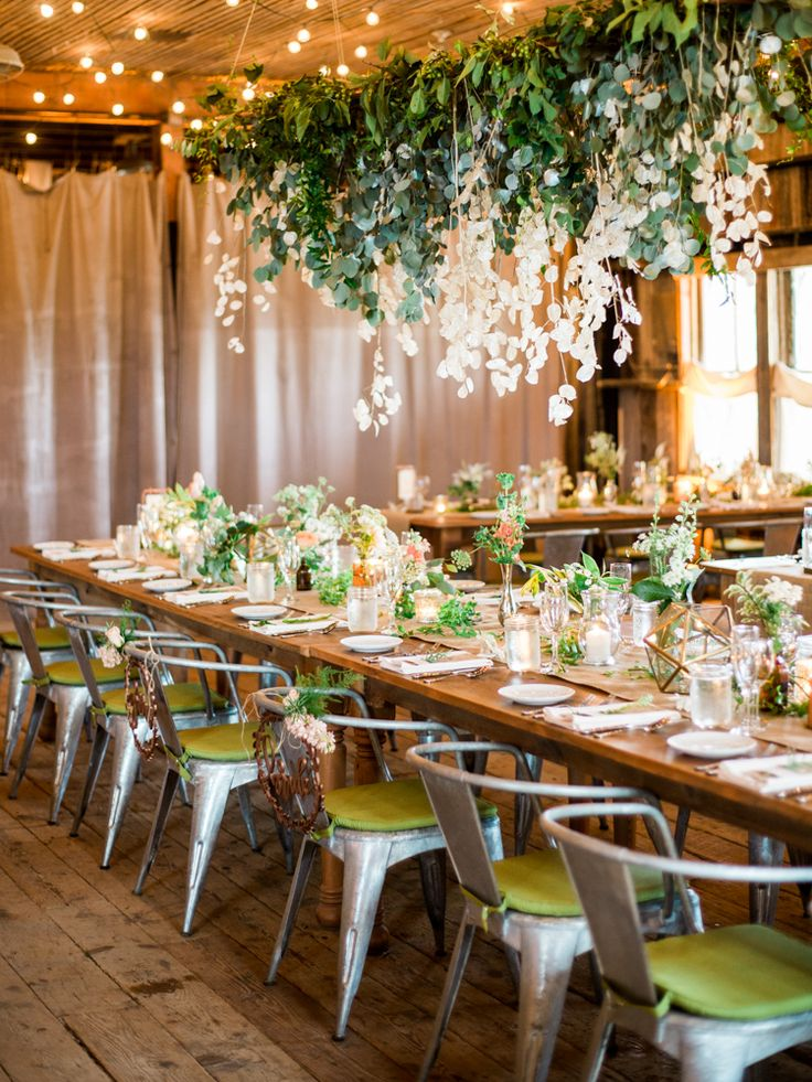 Botanical inspired wedding at Terrain in Philly. Hanging floral chandelier. Green wedding ideas.