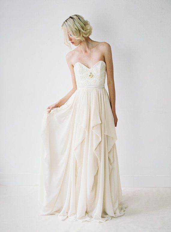 Natalie // Strapless Wedding Gown With Cascading Chiffon Skirt by Truvelle on Etsy