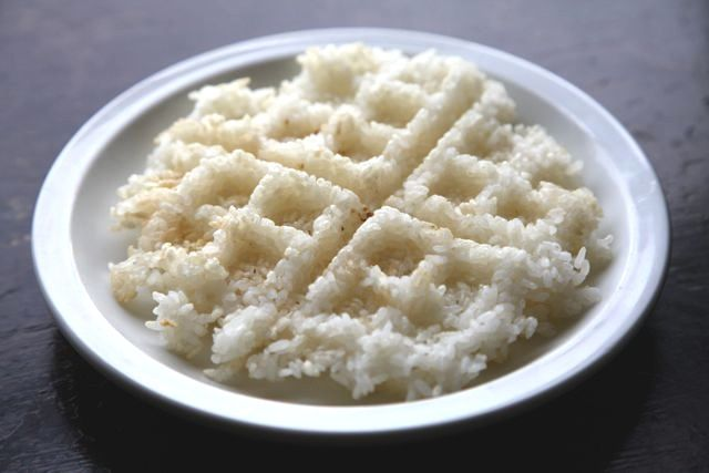 rice in a waffle maker!  crispy and YUM!