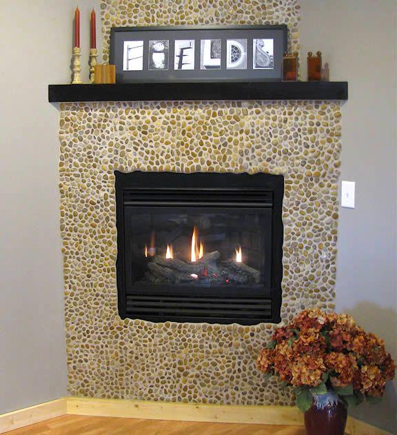 Polished Amber Pebble Tile Fireplace Design Modern
