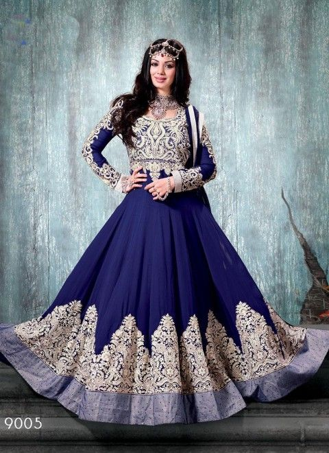 Navy Blue and White Faux Georgette Heavy Embroidery Lace Designer salwar kameez,Salwar kameez,Anarkali suits DE-6653