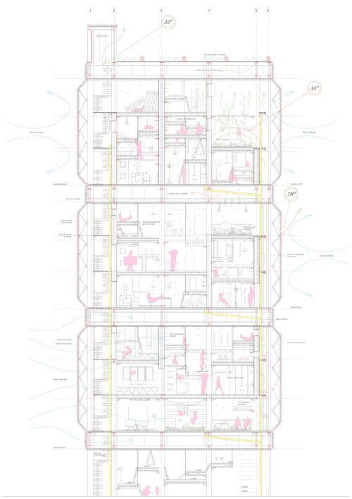Section of a Climate and open building block in Phoenix, Arizona. UD Ribot // CoLab // ETSAM 2014 Authors: Borja Moronta, Carlos Moya and Eugenia Picella. #Architectural #drawings #Section #arquitectura #dibujos #secciones #secciones constructivas #detalles