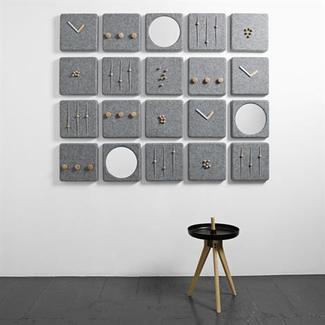 Felt Panel series from Danish Menu with clock, letter holder, coat rack, mirrors and magnetic key holder.