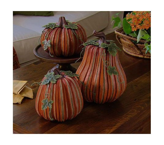 Decorating Ideas > Set Of 3 Carved Ribbed Pumpkins By Valerie  QVC, Pumpkins  ~ 115403_Qvc Thanksgiving Decorations