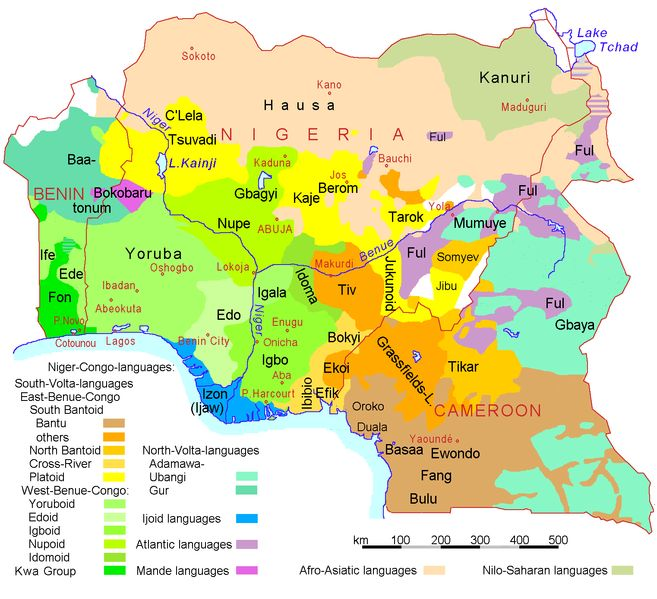 A Linguistic Map Of Nigeria Cameroon And Benin