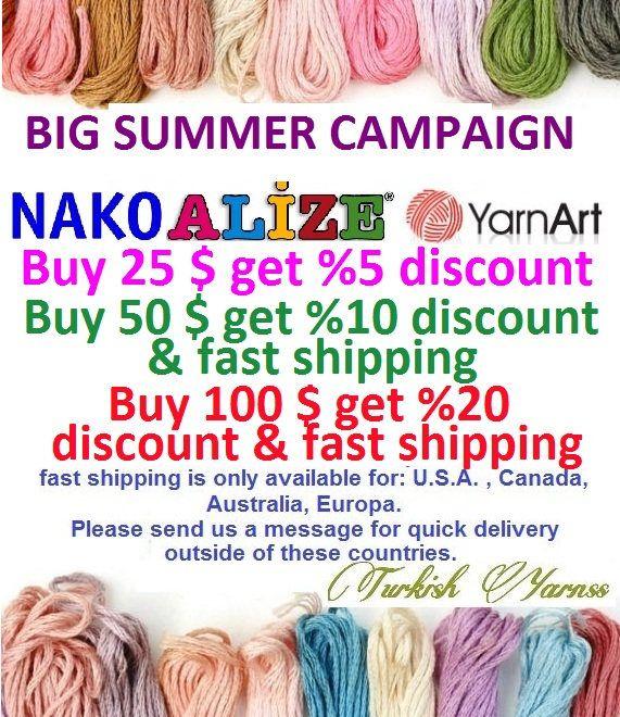 BIG SALE, Buy 100 usd get 20 discount, Buy 50 usd get 10 discount, Buy 25 usd get %5 discount alize yarn, Cotton yarn, Wool yarn, Baby yarn, Crochet, Crochet yarn, Felt, Wool felt, Embroidery, Fantasy yarn, nako yarn, doll, doll yarn wrap, silk yarn, hemp yarn, amigurumi, scarf, yarn art, shawl, hat, cardigan, amigurumi pattern, doll pattern, crochet pattern, knitting pattern