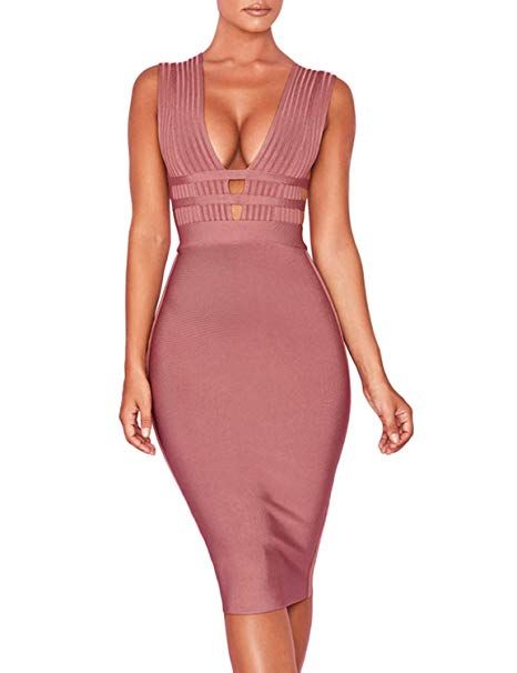 6601323fab0d Hego Women's Coffee Cut Out Club Party Bandage Bodycon Dresses for Special  Occasion H5696 (Coffee, M)