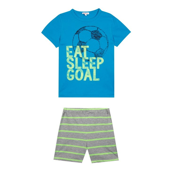 From bluezoo's fantastic range of children's clothing, these comfortable pyjamas feature a fun 'Eat, Sleep, Goal' slogan print in contrasting blue and green hues. Practical, comfortable and stylish, they have been designed using an ultra soft cotton fabric in a short sleeved design.