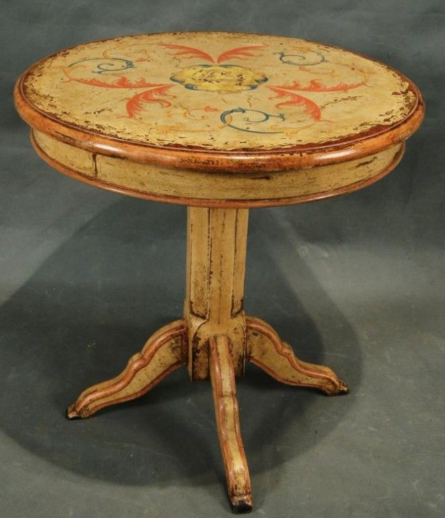Hand Painted Round Tables | Tuscan Style Hand Painted Round Table With  Pedesta : Lot 236