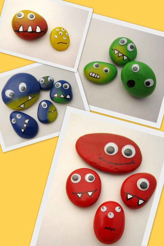 Farbenfrohe Steinmonster in gelb, grün, blau und rot – Colorful stone monsters, yellow, green, blue and red