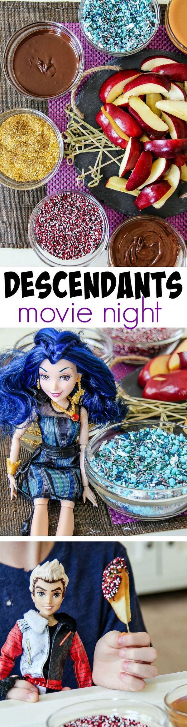 """Host a """"Disney's Descendants"""" movie night with these delicious dipped apples along with Evie and Carlos themed sprinkles #Disney #VillainDescendants #Ad"""