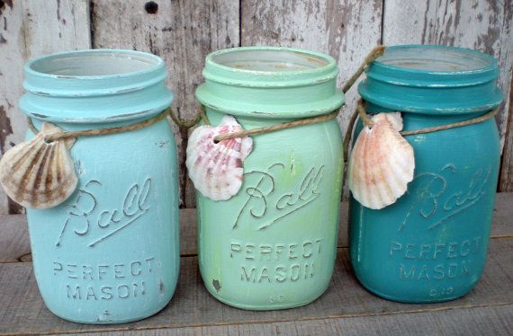 3 mason jars, blues, beach, wedding, turquoise, seafoam green, sea shell, distressed, pint jar, old, vintage via Etsy