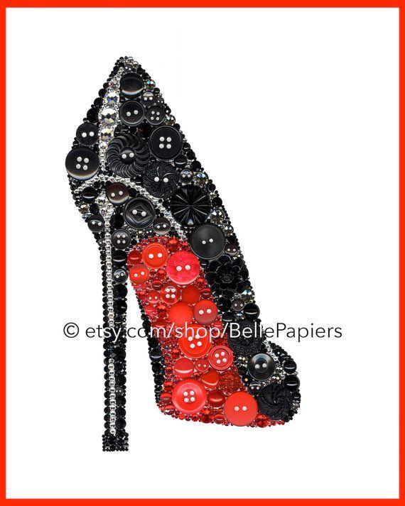 Button Art Print Shoe Stiletto Christian Louboutin High Heel Red Bottom Shoe Black Shoe Button and Swarovski Louboutin Strassed Shoe Fashion