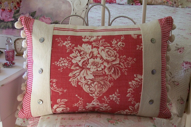 Vintage style Laura Ashley cushion with vintage french torchon.