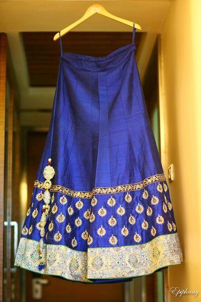 gold scattered motifs, royal blue lehenga, silk lehenga, gold border, gold scattered motifs, gold pom poms