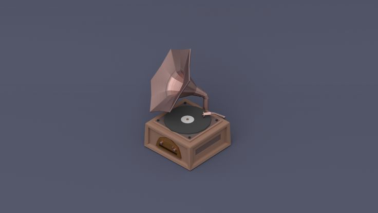 Low Poly - Classic horn record player by gravityapple