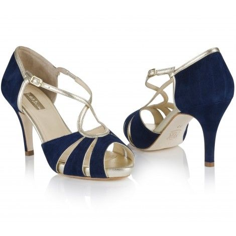 Victoria by Rachel Simpson Navy Midnight Blue Suede Vintage Designer  Wedding Party or Occasion Shoes - SALE  b00ee412f