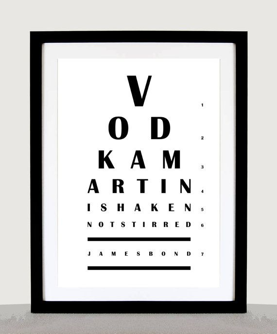 "James Bond Quote 'Vodka Martini Shaken Not Stirred' - Eye Chart 8.5"" × 12"" Minimalist Poster Print - Original Wall Decor, Wall Art"