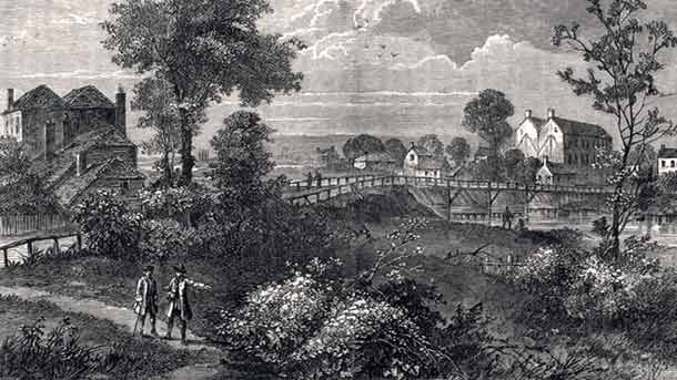 Jenny's Whim Bridge, Pimlico, London, 1750 Pimlico was a swampy osier bed with a scattering of cottages until It was sold by James I for £1,151.15s in 1623, and the whole area, including modern Pimlico, Belgravia and most of Mayfair and Kensington, was inherited by Mary Davies in 1666. At the age of just 12 she was married to Sir Thomas Grosvenor, a member of an obscure Cheshire family.As a result the Grosvenors became the richest family in Britain,