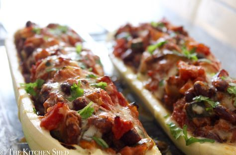 Clean Eating Mexican Bean Stuffed Marrow  |   The Kitchen Shed