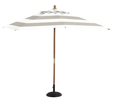 Rectangular Eucalyptus Umbrella - Premium, Sunbrella#0174; Awning Stripe, Gray Stripe
