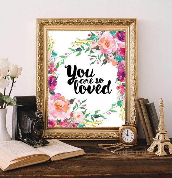 ❣ Please check our announcements tab for coupon codes! ❣  You Are So Loved Printable  ❥ No physical item will be shipped to you. You are purchasing high resolution JPEG files. All files are sized at 8 inch x 10 inch (size of an A4) at 300 DPI.  Download Includes: 1 RBG JPEG 1 CMYK JPEG If you do not wish to print from home, some amazing local print shops such as Staples and Costco provide beautiful wall art prints at very inexpensive prices. Alternatively, you may use online printer shops…