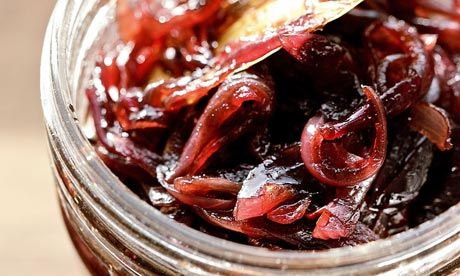 Caramelised red onion chutney  http://www.guardian.co.uk/lifeandstyle/2010/aug/03/caramelised-red-onion-chutney-recipe#