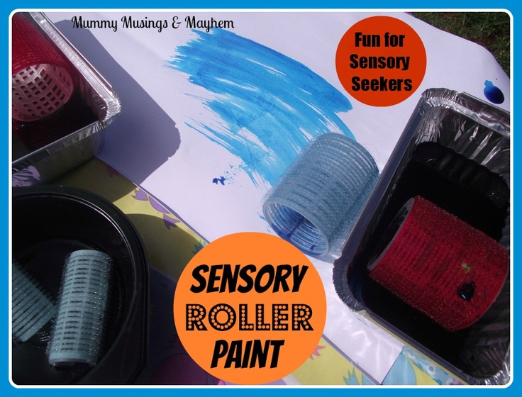 Sensory Roller Painting....An easy to set up activity to challenge sensory sensitive children and excite sensory seekers! Fun for everyone!
