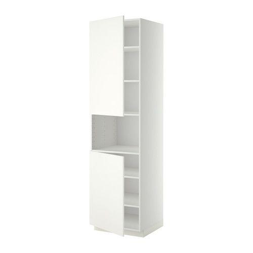 METOD High cab f micro w 2 doors/shelves - white, Häggeby white, 60x60x220 cm - IKEA