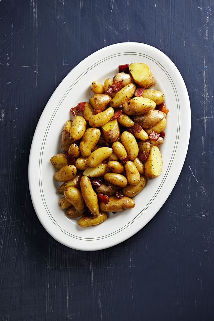 Fingerling Potatoes with Bacon Recipe | SAVEUR ~ The secret to this effortless dish is to use Good quality, thick-cut lean bacon adds smoky richness to sautéed fingerlings.