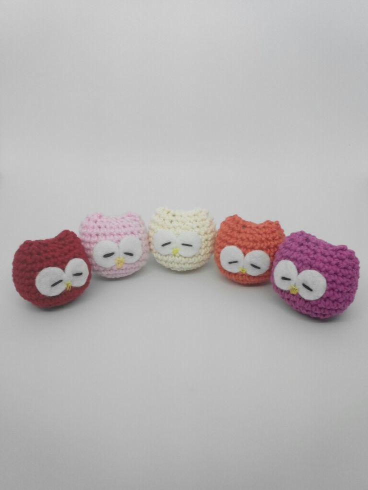 Session 2   The Sleeping Owl ❤ Key Chain • Red • Pink • White • Oranje • Purple • Crocheting Project with Flanel