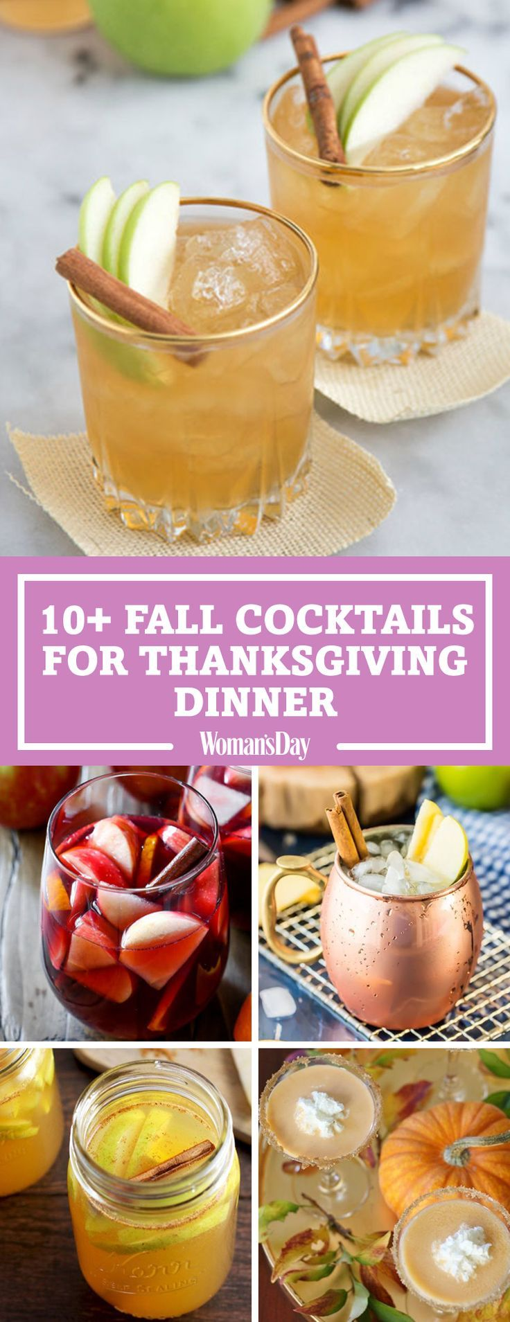 Save these great Thanksgiving cocktail recipes for later! Don't forget to follow Woman's Day on Pinterest for more great recipes.