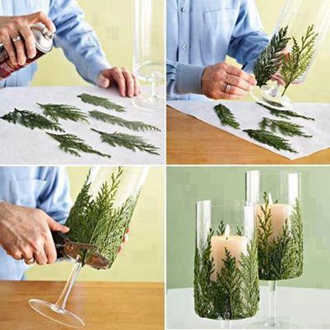 manualidades de navidad centro de mesa con velas y ramas de pino