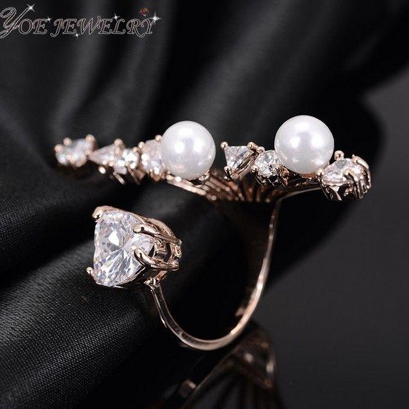 Летний стиль среднего пальцев капли воды циркон кольцо платина покрыли перл коктейльные кольца для женщин мода ну вечеринку изящных ювелирных изделий.