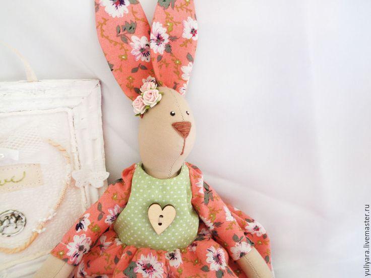 Купить Тильда - заяц (Весенняя) - оранжевый, салатовый, тильда заяц, тильда кукла, тильда