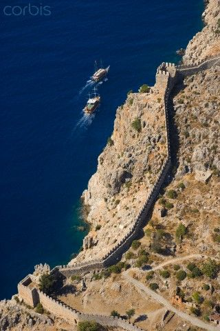 Aerial view of castle walls, Antalya, Turkey