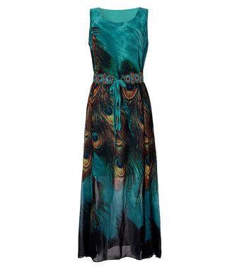 Only US$27.89 , shop Bohemian Women Peacock Printed Sleeveless Chiffon Maxi Dress With Belt at Banggood.com. Buy fashion Maxi Dresses online.